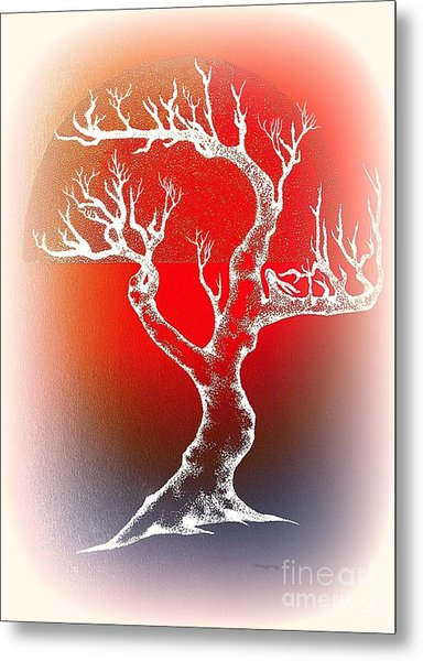 Bonsai Red Metal Print