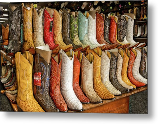 Boots In Every Color Metal Print