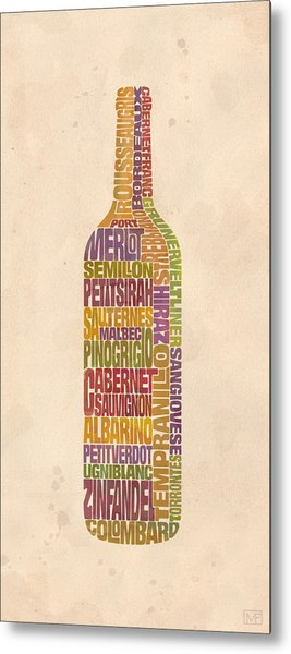Bordeaux Wine Word Bottle Metal Print