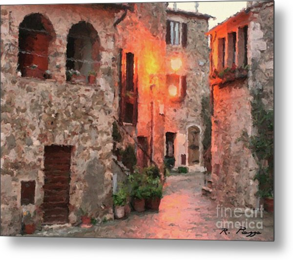 Metal Print featuring the painting Borgo Medievale by Rosario Piazza