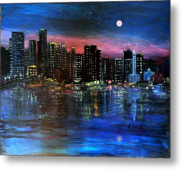 Boston At Night Metal Print