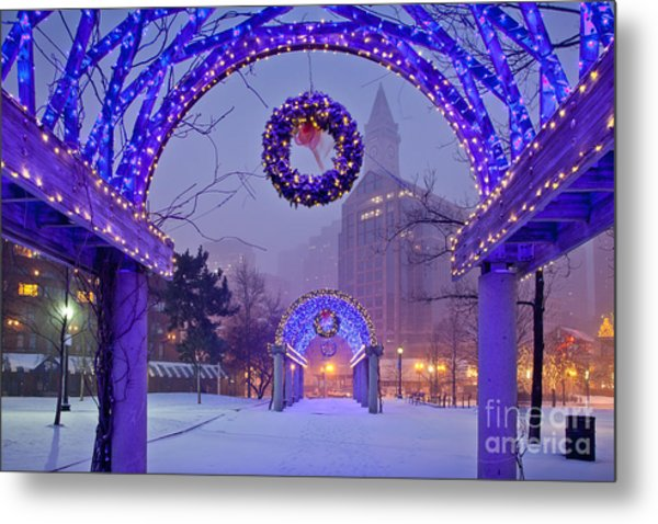 Boston Blue Christmas Metal Print