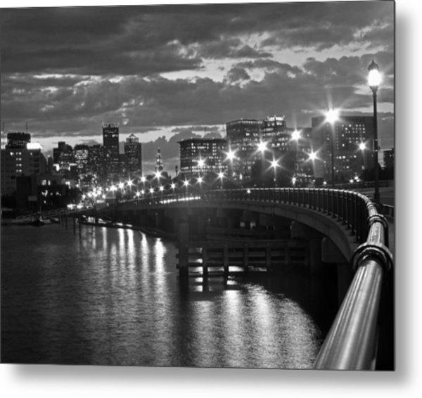 Boston Blue Hour Black And White Metal Print