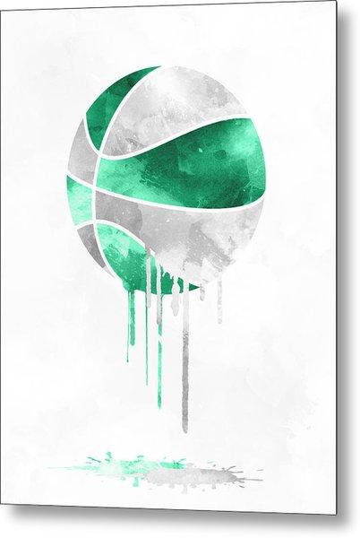 Boston Celtics Dripping Water Colors Pixel Art Metal Print