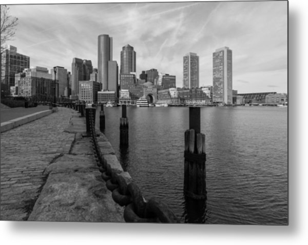 Boston Cityscape From The Seaport District In Black And White Metal Print