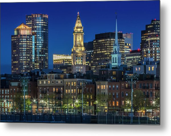 Boston Evening Skyline Of North End And Financial District Metal Print