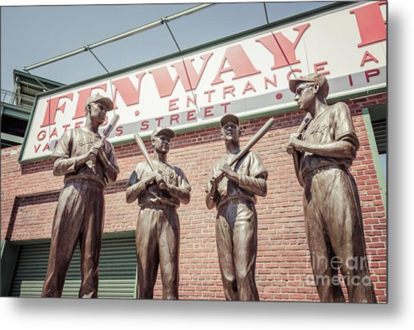 Boston Fenway Park Sign Gate B Statues Metal Print