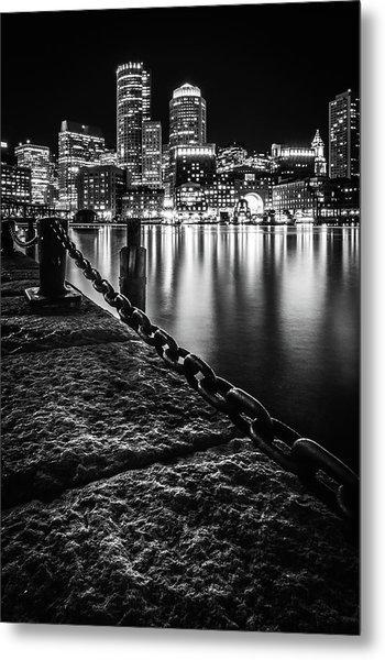 Boston Harbor At Night Metal Print