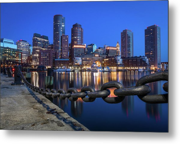 Boston Harbor Blue Metal Print