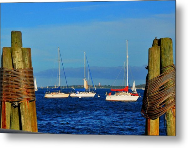 Boston Harbor Picture Perfect Metal Print by Andrew Dinh