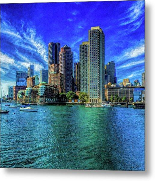 Boston Harbor Reflected Metal Print