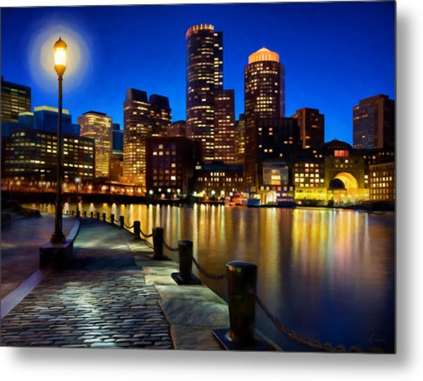 Boston Harbor Skyline Painting Of Boston Massachusetts Metal Print by James Charles