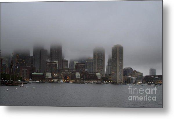 Boston In The Fog Metal Print