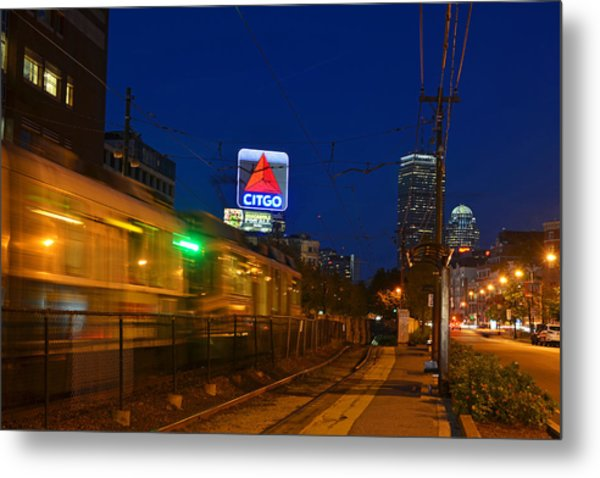 Boston Ma Green Line Train On The Move Metal Print