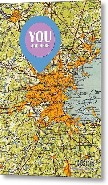 Boston Massachusetts 1948 Old Map You Are Here Metal Print