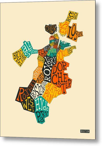Boston Neighborhoods Map Typography Metal Print