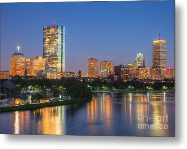 Boston Night Skyline II Metal Print