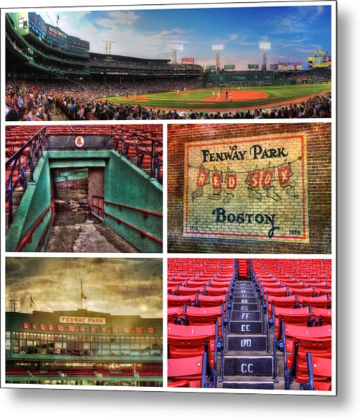 Boston Red Sox Collage - Fenway Park Metal Print