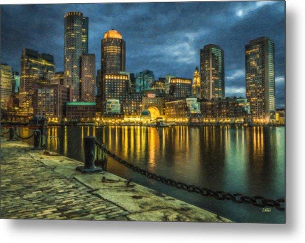 Boston Skyline At Night - Cty828916 Metal Print
