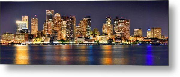 Boston Skyline At Night Panorama Metal Print