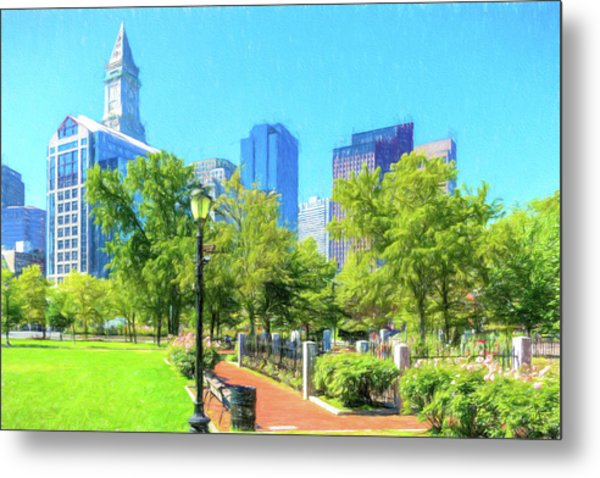 Boston Skyline From Columbus Park Metal Print