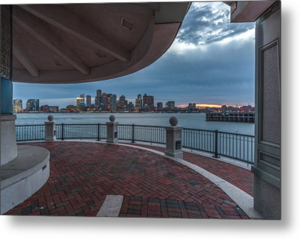 Boston Skyline From Piers Park  East Boston Ma Metal Print