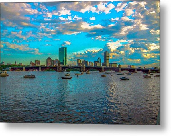 Boston Skyline Painting Effect Metal Print