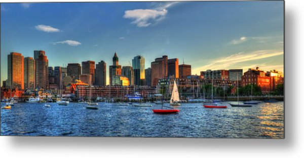 Boston Skyline Panoramic - Boston Harbor Metal Print by Joann Vitali