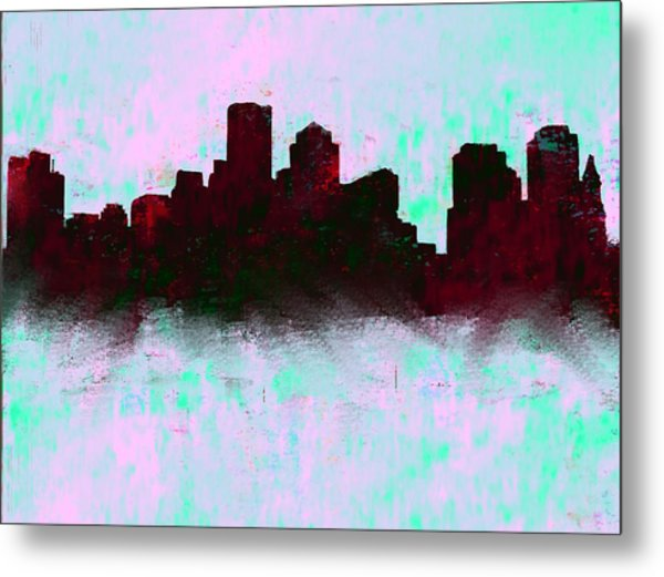 Boston Skyline Sky Blue  Metal Print