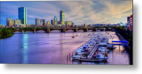 Boston Skyline Sunset Metal Print