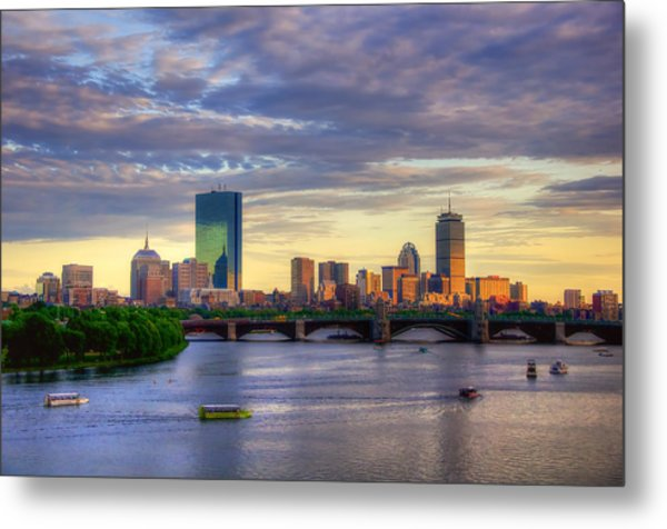 Boston Skyline Sunset Over Back Bay Metal Print