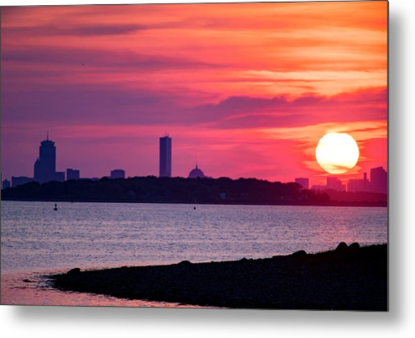 Boston Skyline Worlds End Metal Print