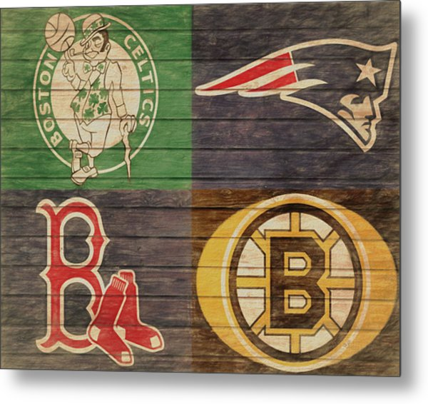 Boston Sports Teams Barn Door Metal Print
