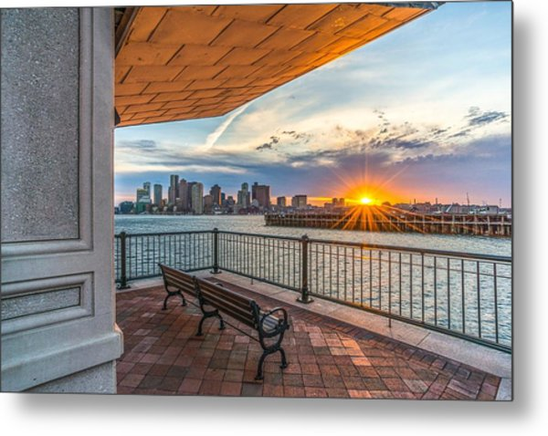 Boston Sunset From Piers Park East Boston Ma Metal Print