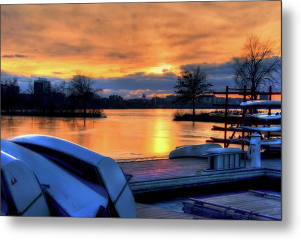 Boston Sunset On The Charles River With Citgo Sign Metal Print by Joann Vitali