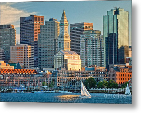 Boston Sunset Sail Metal Print