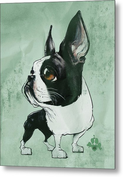 Boston Terrier - Green  Metal Print