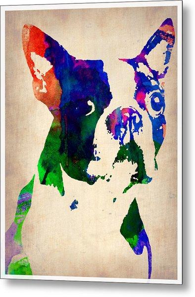 Boston Terrier Watercolor Metal Print