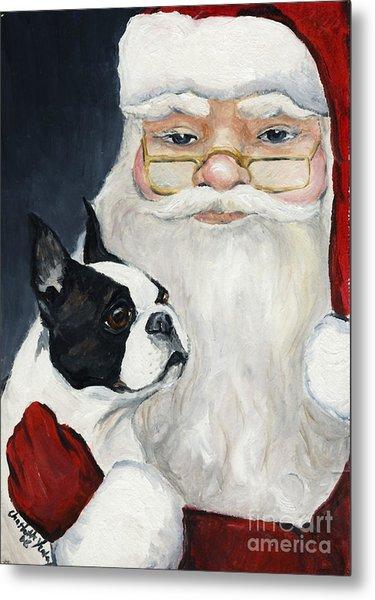 Boston Terrier With Santa Metal Print