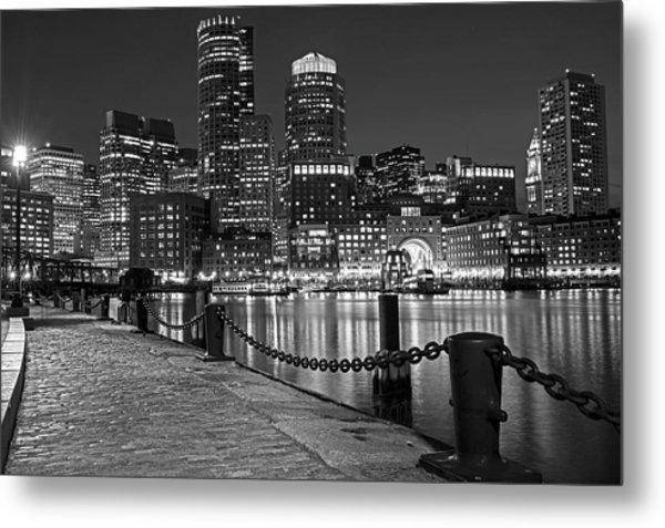Boston Waterfront Boston Skyline Black And White Metal Print