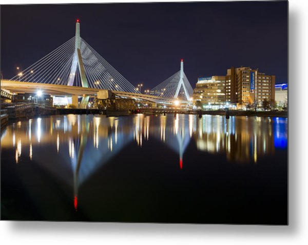 Boston Zakim Memorial Bridge Nightscape II Metal Print