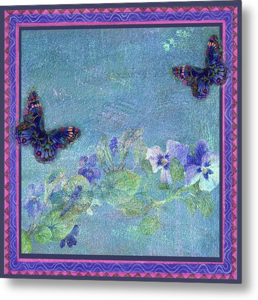 Botanical And Colorful Butterflies Metal Print