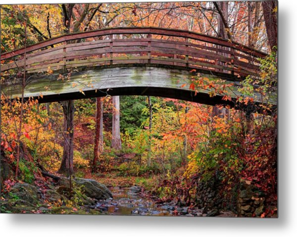 Botanical Gardens Arched Bridge Asheville During Fall Metal Print