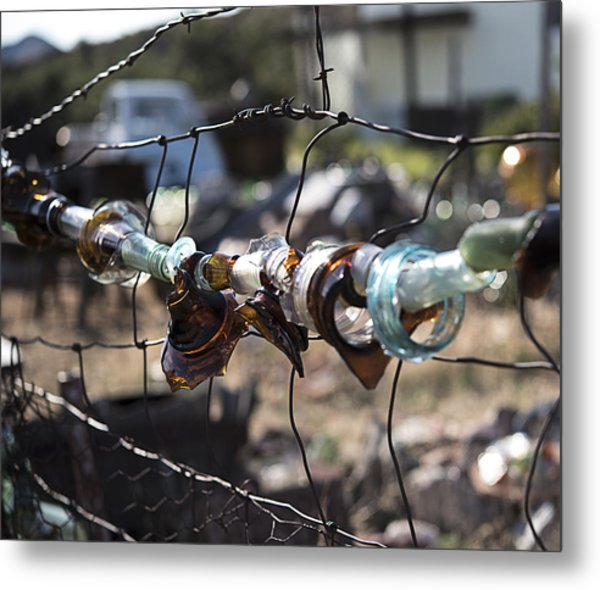Bottle Fence Metal Print