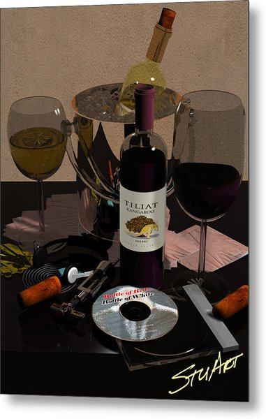 Bottle Of Red...bottle Of White Metal Print