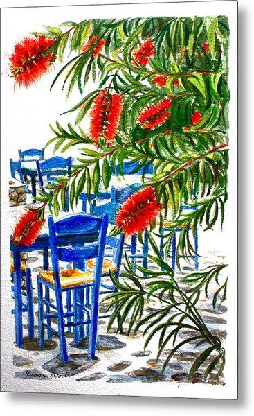 Bottlebrush And Blue Metal Print by Yvonne Ayoub