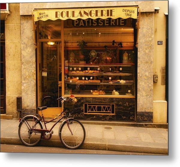 Boulangerie And Bike Metal Print
