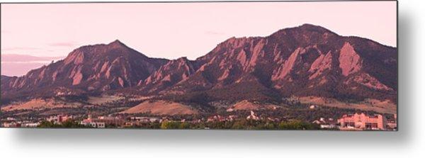 Boulder Colorado Flatirons 1st Light Panorama Metal Print