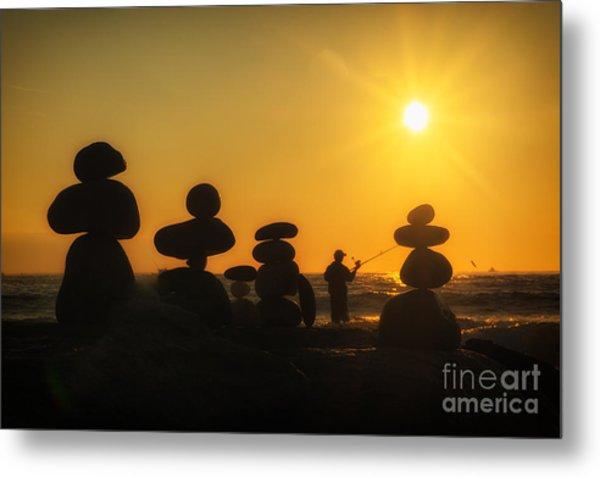 Boulders By The Sea Metal Print