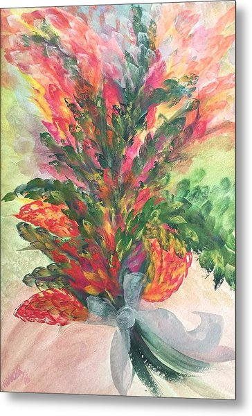 Bouquet And Ribbon Metal Print